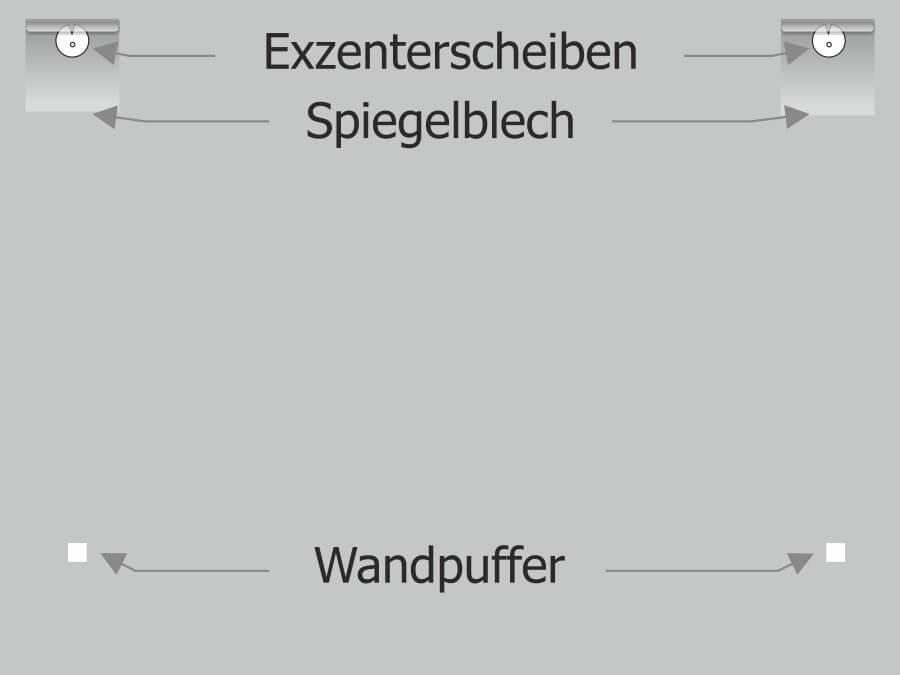 Montage: Spiegelblech Exzenterscheibe Wandpuffer