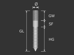 Stockschraube M6 x 60 mm verzinkt ohne Schlüsselfläche | Torx 15