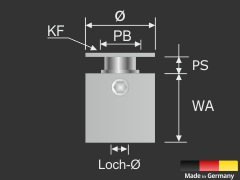 Wandabstandhalter 4-eckig Edelstahl V2A 15x15mm