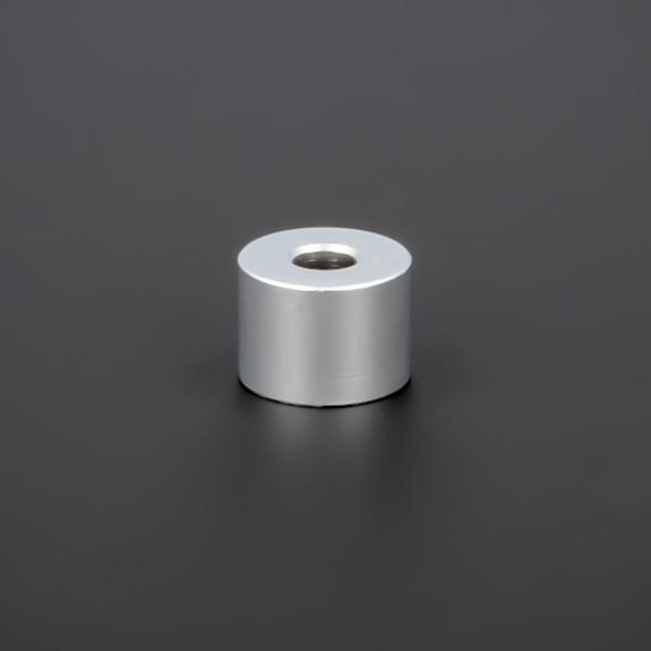 Distanzhalter M5 Messing matt verchromt Ø15x10mm L-Ø:5,2mm | Silber