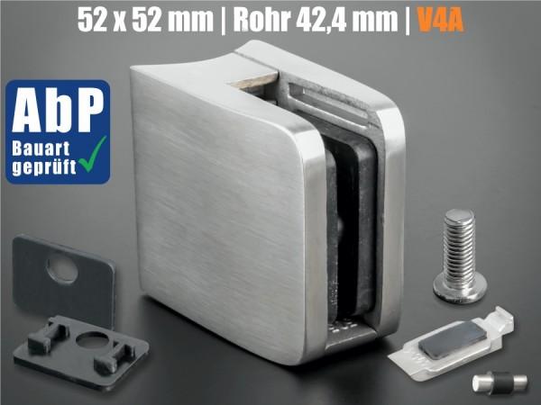 Glashalter 52x52 mm V4A + Sicherung eckig PS: 8-12,76 mm | Rohr Ø 42,4