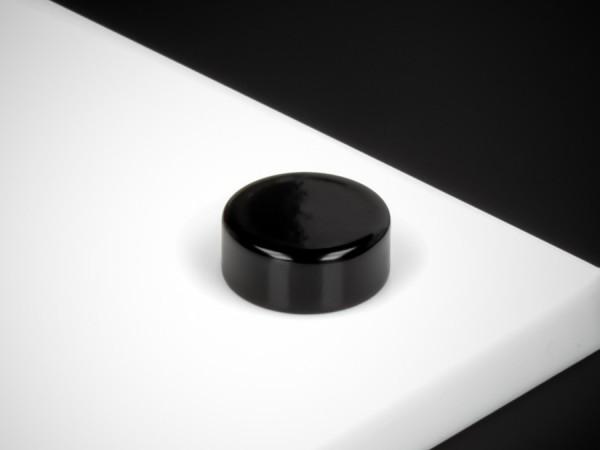 Schraubenabdeckung Edelstahl inkl. Gewindehülse flach Ø15 mm | Schwarz