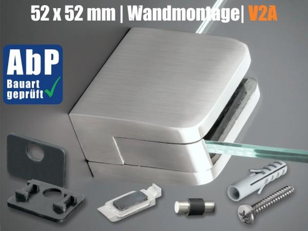 Glashalter Edelstahl 52x52mm mit Sicherung PS: 8-12,76mm | Wandmontage