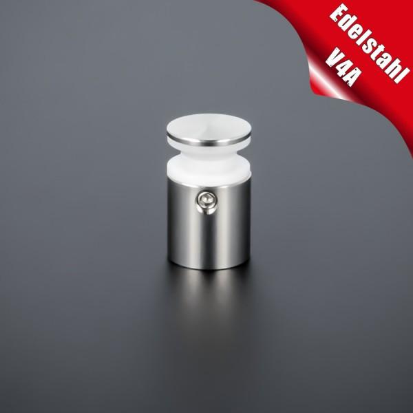 Glasplattenhalterung V4A Ø:15 mm WA:15 mm PS: 4-10 mm o. 2 x 2-5 mm