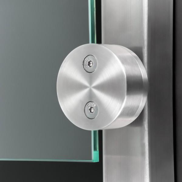 Glashalter Edelstahl rund Ø60mm einseitig Frontmontage flach 8-12,76mm