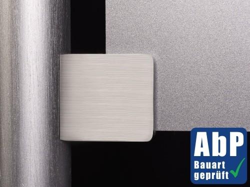 Glashalter+Sicherungsstift+Platte V2A 45x45mm PS:6-12,76mm | RohrØ42,4
