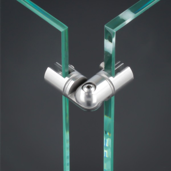 Eckverbinder 90° Edelstahl Spuckschutz Glas-Halter Platten PS: 2-6 mm