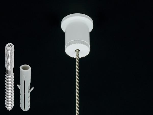 Seildeckenabhänger für Kugelseil 1,5-2mm | weiß | Stockschraube