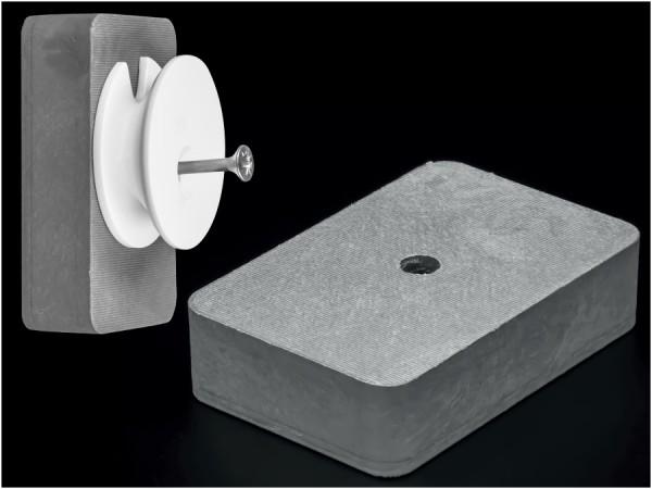 Distanzklötze 60x40x15mm mit Loch Spiegelmontage Kunststoff | Grau