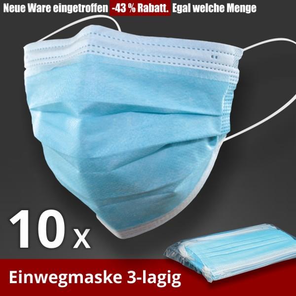 10 x Einwegmaske 3-lagig Atem Nase Mund Maske Gesichtsmaske hellblau