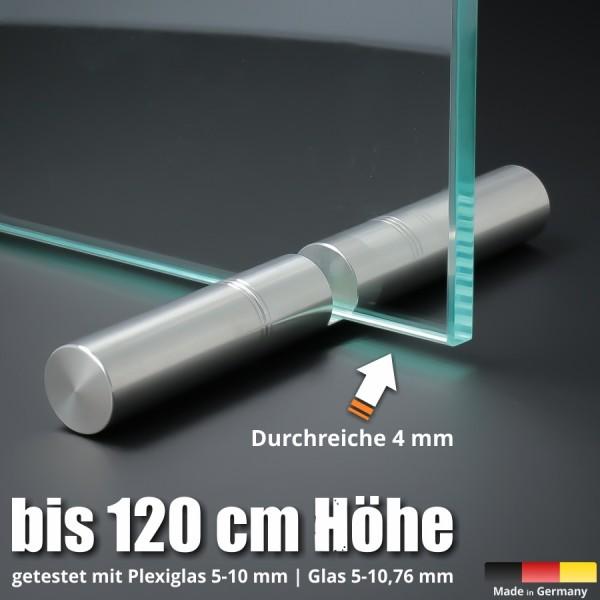 Tischaufsteller Edelstahl 150mm Spuckschutz Wand Ø18mm PS:5-10,76mm