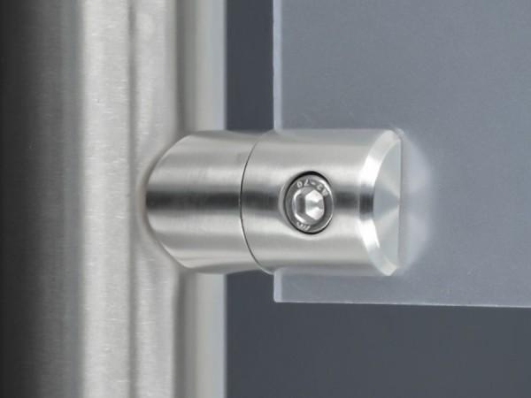 Blechhalter Edelstahl 40 x 25 mm PS:1,5-4 mm + Gummi | rund Ø 40-45 mm
