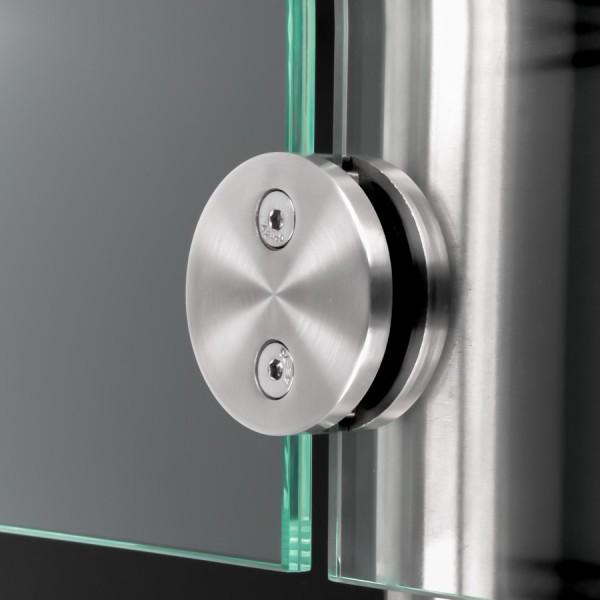 Glashalter Edelstahl rund Ø60mm beidseitig front Rohr Ø42,4mm 8-12,76mm