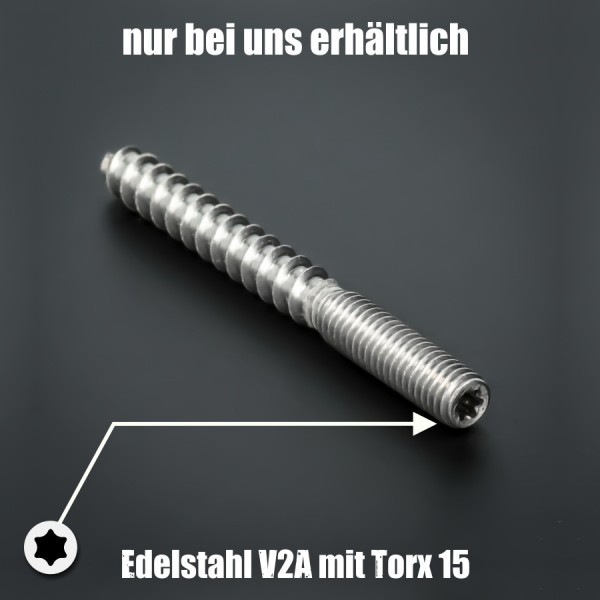 Stockschraube M6x60 mm Edelstahl V2A A2 rostfrei | Torx Antrieb 15