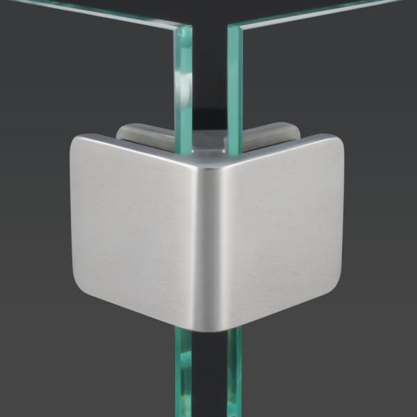 Glashalter Eckverbinder Edelstahl V4A eckig 90° 53x45mm PS: 6-10,76 mm