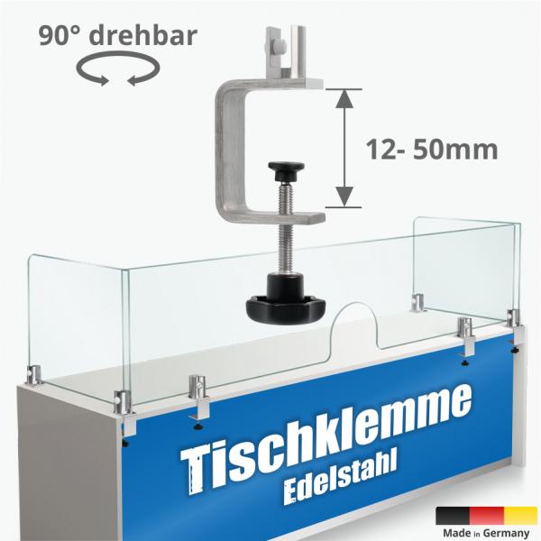 Tischklemme Spuckschutz Trennwand Edelstahl K:12-50mm+Halter 3-10mm