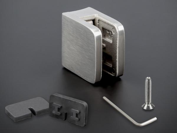 Glashalterungen Edelstahl 30x30 mm + Gummi PS: 4-8 mm | Rohr 40-45 mm