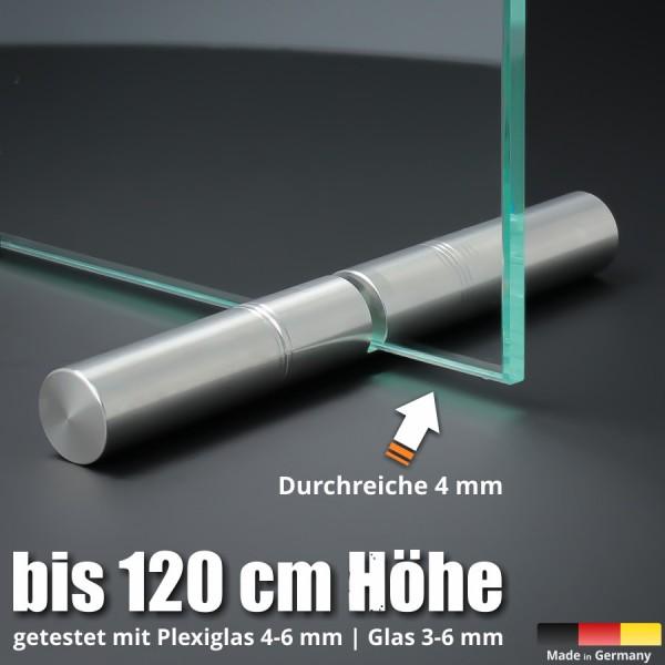 Tischaufsteller 150mm Spuckschutz Plexiglas Glas Platten Ø18 PS:2-6mm