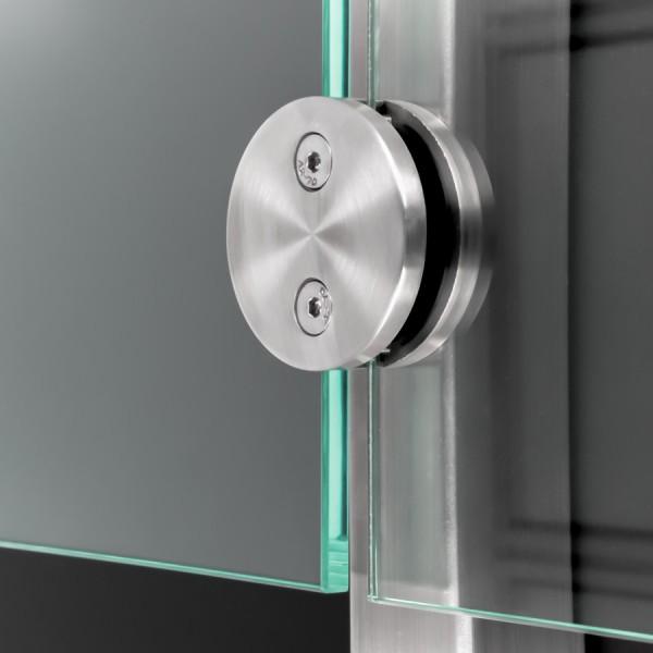 Glashalter Edelstahl rund Ø60mm beidseitig Frontmontage flach 8-12,76mm