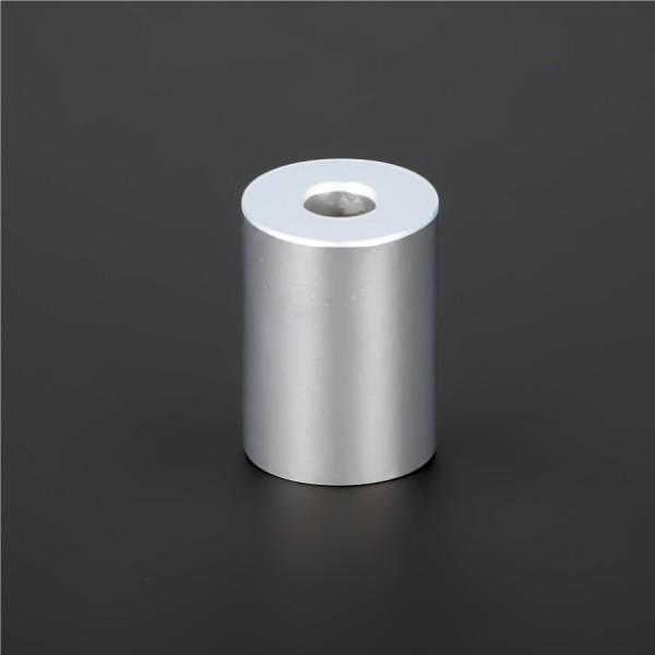 Distanz-Halter M5 Messing matt verchromt Ø15x20mm L-Ø:5,2mm | Silber