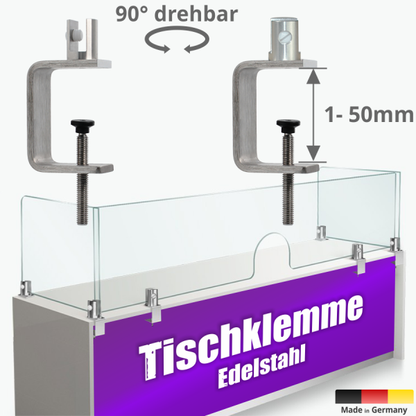 Tischklemme Spuckschutz Plexiglas Edelstahl K:1-50mm+Halter 3-10mm