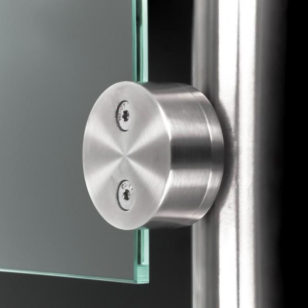 Glashalter Edelstahl rund Ø60mm einseitig front Rohr Ø42,4mm 8-12,76mm