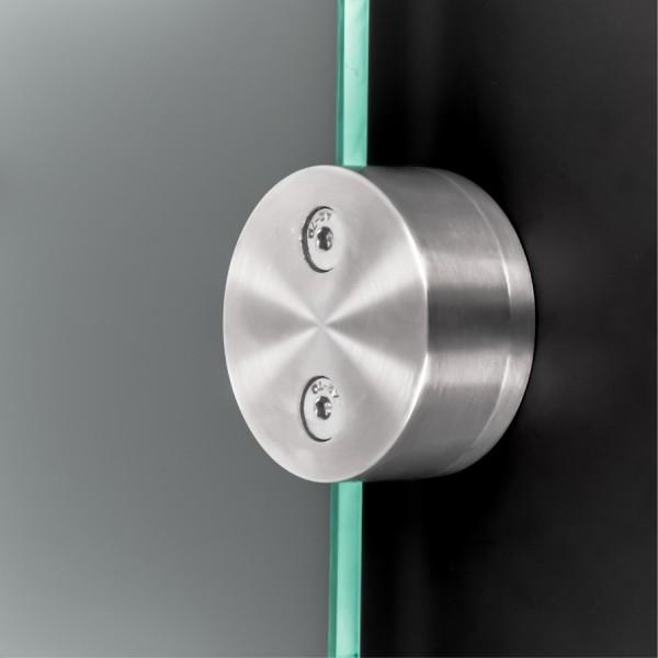 Glashalter Edelstahl rund Ø60mm einseitig front Wandmontage 8-12,76mm
