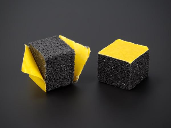 Schaumstoff-Puffer beidseitig selbstklebend | Schwarz 15x15x12 mm