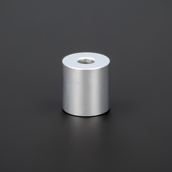 Schraubenhülse M5 Messing matt verchromt Ø15x15mm L-Ø:5,2mm | Silber