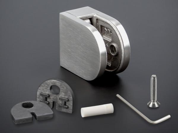 Glasklemmen Edelstahl + Sicherung V2A 36x29mm Gummi PS: 4-8 mm | flach