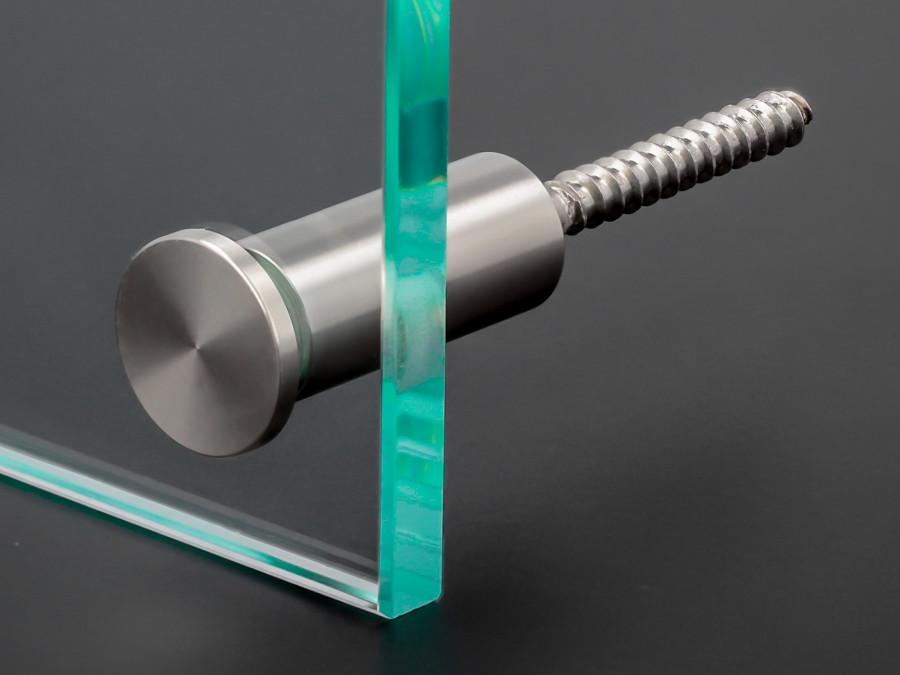 2x 2-3 mm Stockschraube Halter 4-6 mm o Glasbefestigung Edelstahl Ø15x20 mm PS