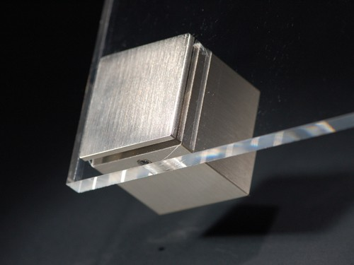 Wandabstandhalter 4-eckig Messing Edelstahl-Optik 30x30 mm WA: 25 mm