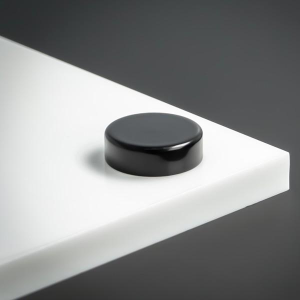 Schraubenkopfabdeckung Edelstahl + Gewindehülse flach Ø18 mm | Schwarz