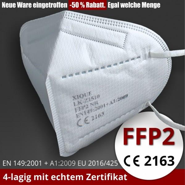 FFP2 Maske Atemschutzmasken CE Prüfstelle 2163 zertifiziert 4-lagig